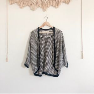 LOFT Slouchy Knit Black/ White 3/4 Sleeve Cardigan